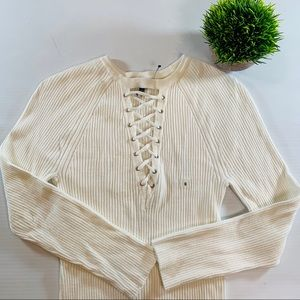 Express Lace Up Light Stretch Ribbed Knit Sweater